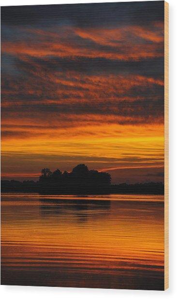 Dramatic Sunset Wood Print by M James McAdams