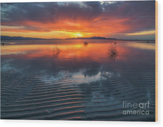 Wood Print featuring the photograph Dramatic Sunset by Spencer Baugh