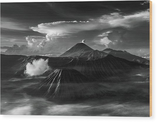 Dramatic View Of Mount Bromo Wood Print