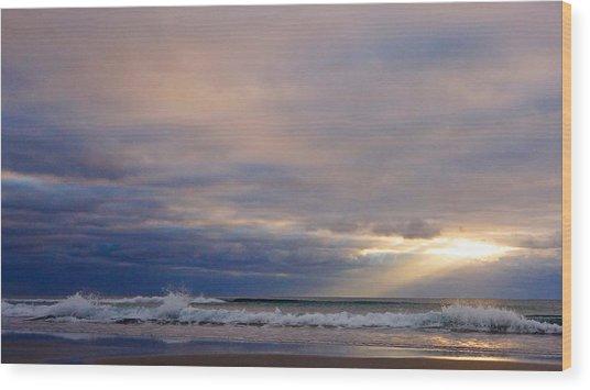 Dramatic Wave Sunrise Wood Print