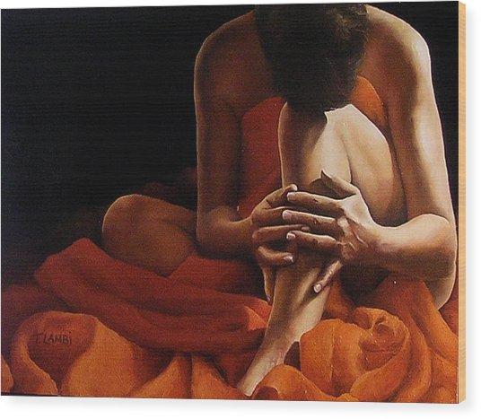 Draped In Orange Wood Print by Trisha Lambi