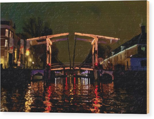 Drawbridge Over Amsterdam Canals Wood Print