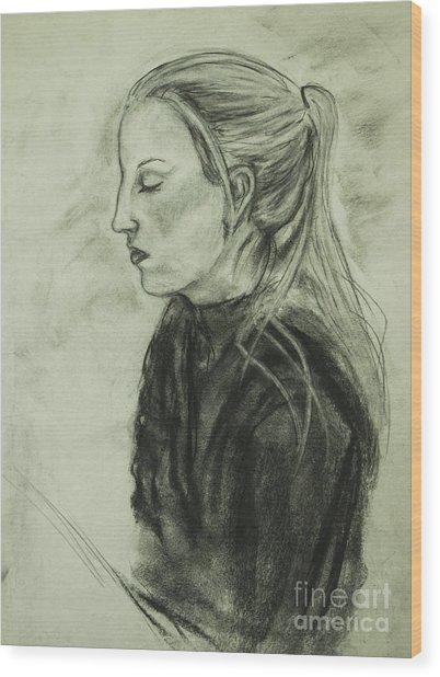 Wood Print featuring the drawing Drawing Of An Artist by Angelique Bowman