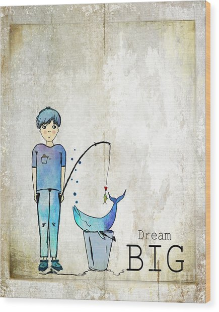 Dream Big Whale In Bucket Ginkelmier Wood Print