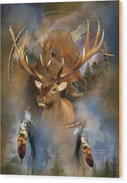 Dream Catcher - Spirit Of The Elk Wood Print