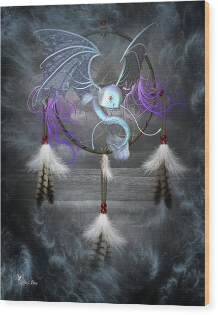 Dream Catcher Dragon Fish Wood Print