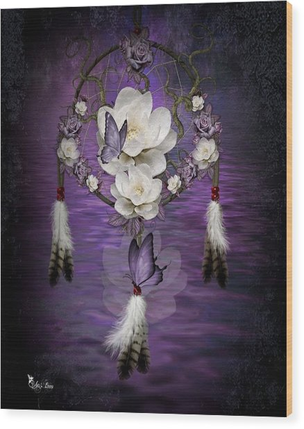 Dream Catcher Purple Flowers Wood Print