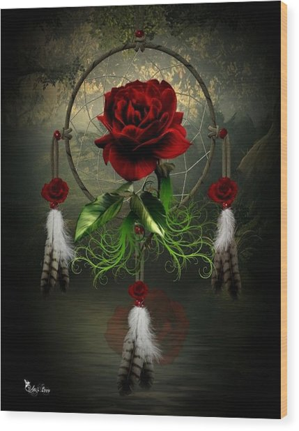 Dream Catcher Rose Wood Print
