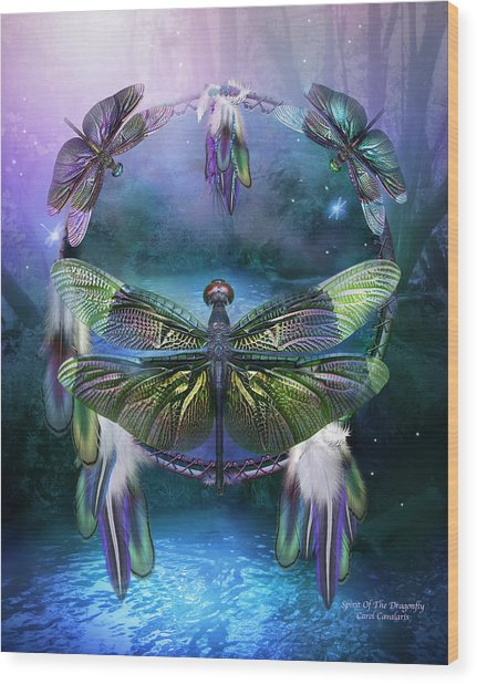 Wood Print featuring the mixed media Dream Catcher - Spirit Of The Dragonfly by Carol Cavalaris