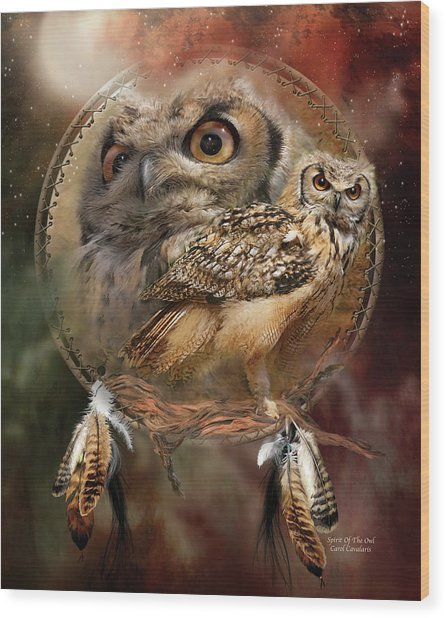 Wood Print featuring the mixed media Dream Catcher - Spirit Of The Owl by Carol Cavalaris