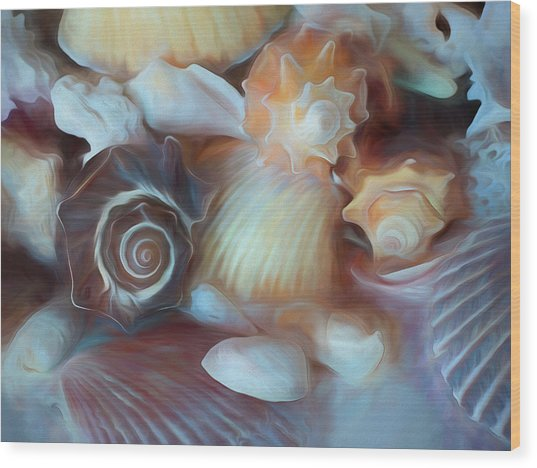 Wood Print featuring the mixed media Dream Of Seashells by Lynda Lehmann
