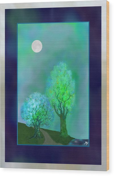 Dream Trees At Twilight With Borders Wood Print by Mathilde Vhargon