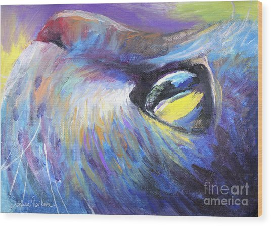 Dreamer Tubby Cat Painting Wood Print