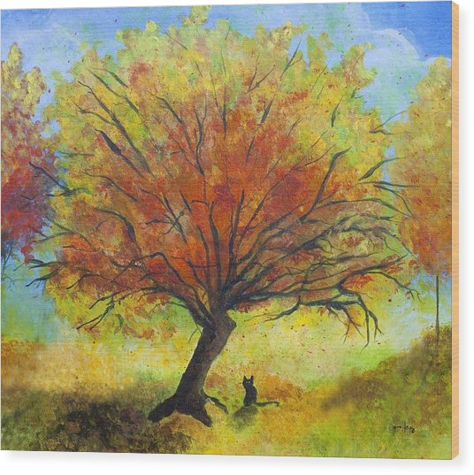 Dreaming Amber Wood Print