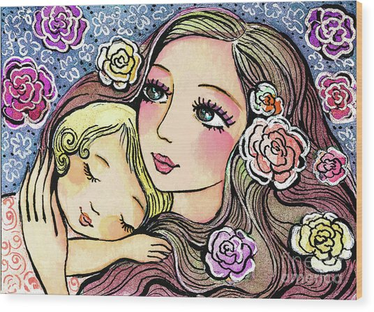 Dreaming In Roses Wood Print