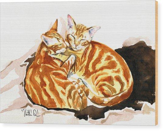 Dreaming Of Ginger - Orange Tabby Cat Painting Wood Print