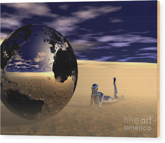 Wood Print featuring the digital art Dreaming Of Other Worlds by Sandra Bauser Digital Art