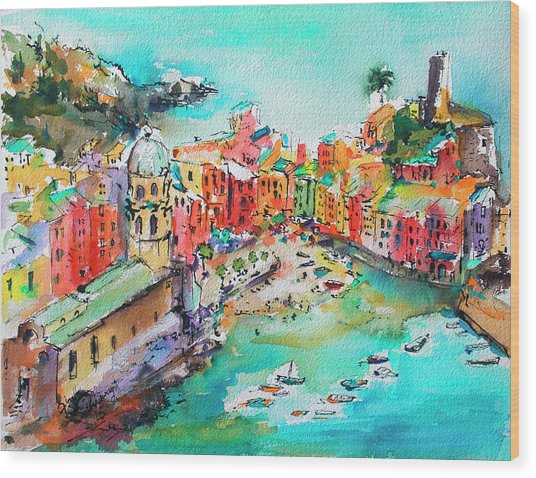 Dreaming Of Vernazza Cinque Terre Italy Wood Print