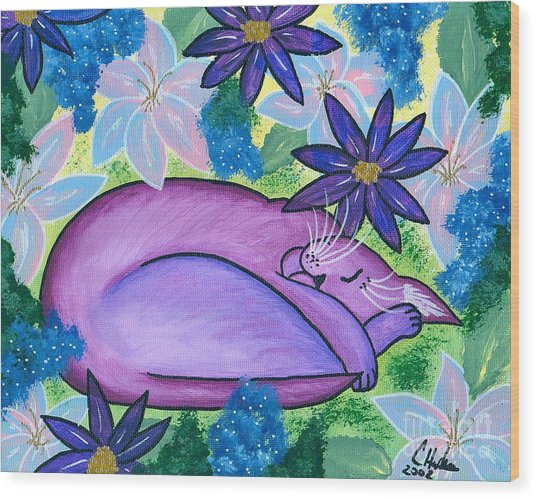 Dreaming Sleeping Purple Cat Wood Print