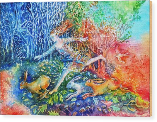 Dreaming With Hares Wood Print
