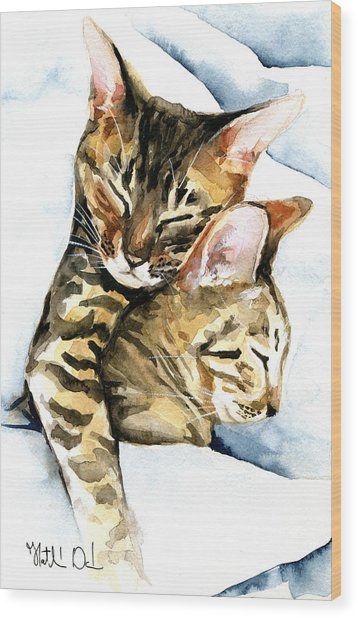 Dreamland - Bengal And Savannah Cat Painting Wood Print