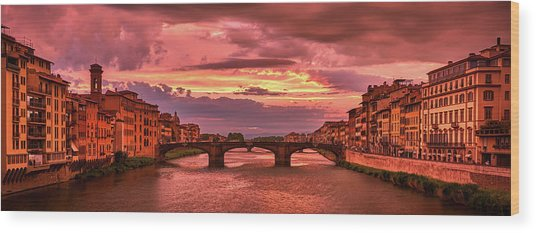 Dreamlike Sunset From Ponte Vecchio Wood Print
