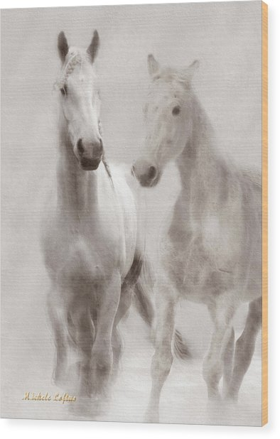 Dreamy Horses Wood Print