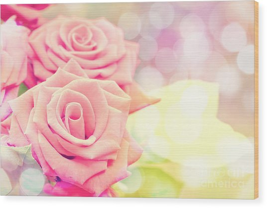 Dreamy Pastel Roses Wood Print