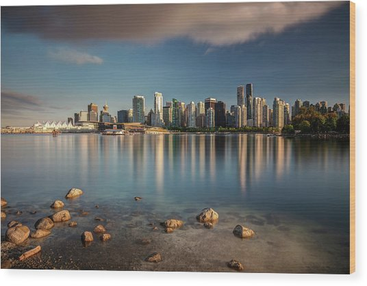 Wood Print featuring the photograph Dreamy Vancouver Cityscape by Pierre Leclerc Photography