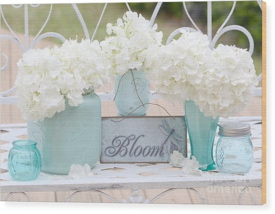 White Hydrangeas Cottage Decor- Shabby Chic White Hydrangeas In Aqua Blue Teal Mason Ball Jars Wood Print