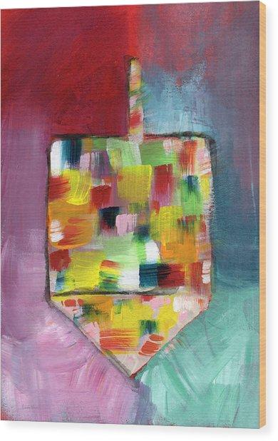 Dreidel Of Many Colors- Art By Linda Woods Wood Print