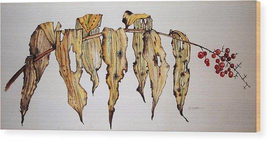 Dried Berry Weed Wood Print