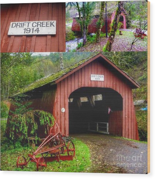 Drift Creek Covered Bridge Wood Print