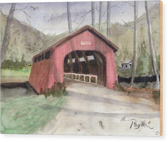 Drift Creek Covered Bridge Watercolor Wood Print