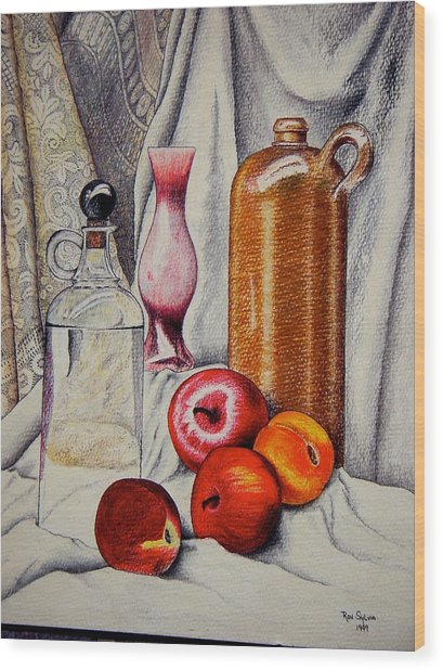 Drink And Fruit Wood Print by Ron Sylvia