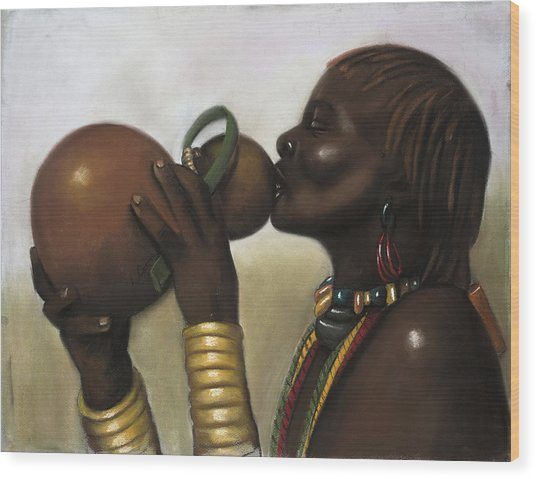 Drinking Gourd Wood Print by L Cooper