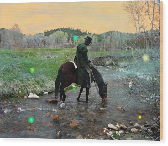 Drinking In The River Horseman Lit By Fireflies Wood Print