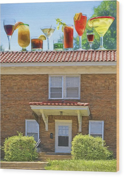 Drinks On The House Wood Print