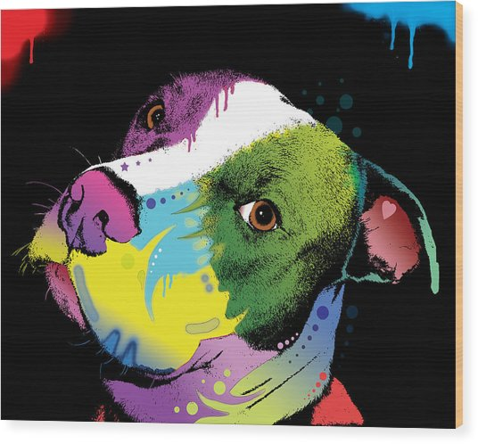 Dripful Pitbull Wood Print