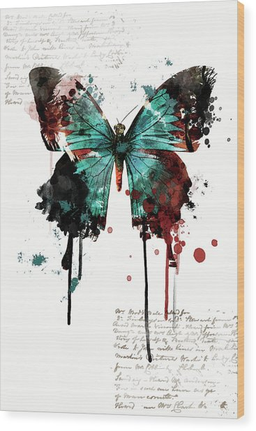 Dripping Butterfly Wood Print
