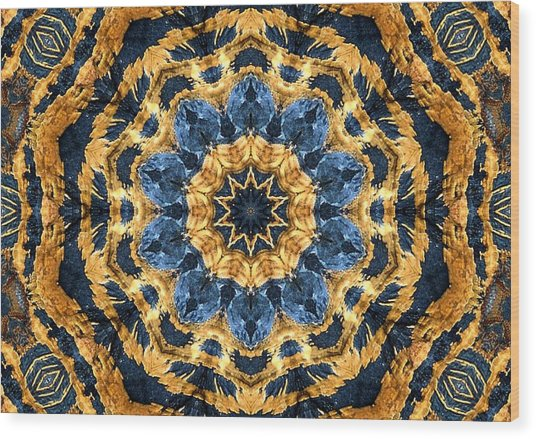 Dripping Gold Kaleidoscope Wood Print