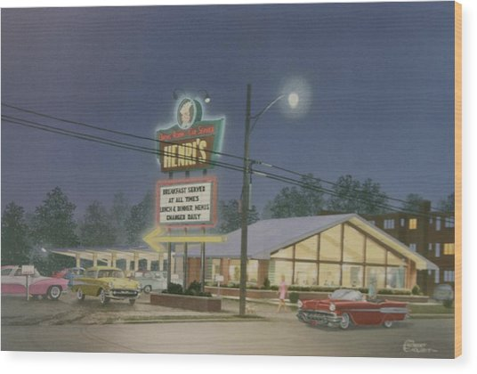 Drive-in Restaurant Wood Print