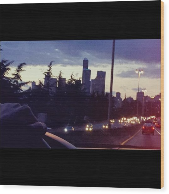 Drive Thru Seattle #enlight #highway Wood Print