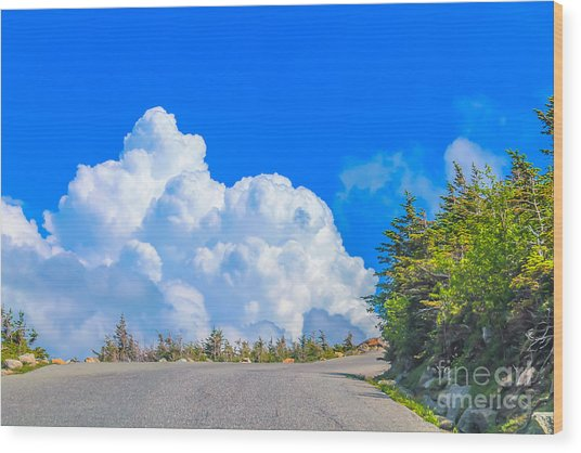 Driving Into The Clouds Wood Print