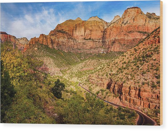 Driving Into Zion Wood Print
