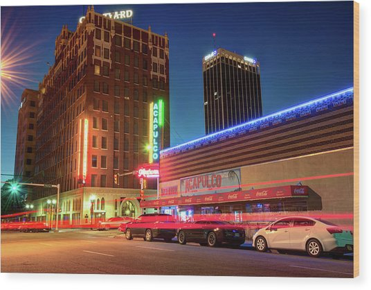 Driving Through Downtown Amarillo Texas  Wood Print by Gregory Ballos