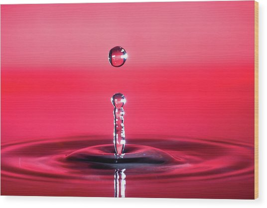 Drop Of Red Wood Print
