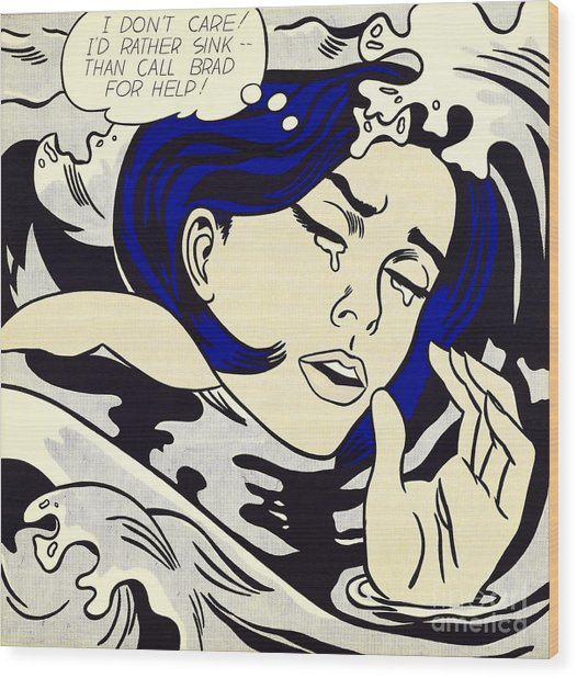 Drowning Girl - Aka Secret Hearts, I Don't Care Or I'd Rather Sink Wood Print