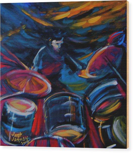 Drummer Craze Wood Print