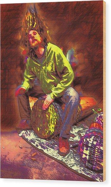 Drummer On Fire Wood Print by John Haldane